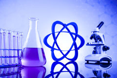 Science concept, Chemical laboratory glassware stock image