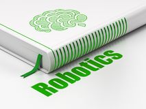 Science concept: book Brain, Robotics on white background. Science concept: closed book with Green Brain icon and text Robotics on floor, white background, 3D Stock Photo