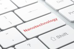 Science concept: Nanotechnology on computer keyboard background. Science concept: computer keyboard with word Nanotechnology, selected focus on enter button Royalty Free Stock Image