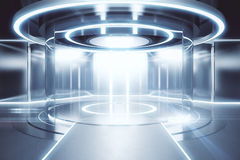 Science concept. Glowing silver teleportation station. Science concept. 3D Rendering Stock Photography