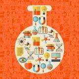Science concept illustration in shape of tube stock illustration