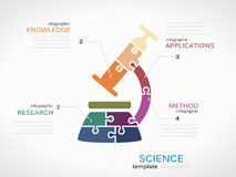 Science. Concept infographic template with microscope made out of puzzle pieces stock illustration