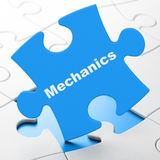 Science concept: Mechanics on puzzle background. Science concept: Mechanics on Blue puzzle pieces background, 3D rendering royalty free illustration