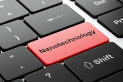 Science concept: Nanotechnology on computer keyboard background. Science concept: computer keyboard with word Nanotechnology, selected focus on enter button Stock Image
