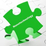 Science concept: Nanotechnology on puzzle background. Science concept: Nanotechnology on Green puzzle pieces background, 3D rendering Stock Photography