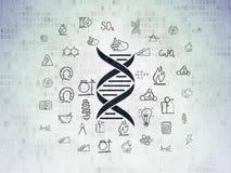 Science concept: DNA on Digital Data Paper background vector illustration
