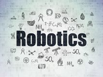 Science concept: Robotics on Digital Data Paper background. Science concept: Painted black text Robotics on Digital Data Paper background with  Hand Drawn Royalty Free Stock Photo