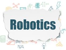 Science concept: Robotics on Torn Paper background. Science concept: Painted blue text Robotics on Torn Paper background with Scheme Of Hand Drawn Science Icons Royalty Free Stock Photos