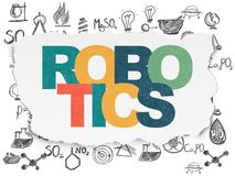Science concept: Robotics on Torn Paper background. Science concept: Painted multicolor text Robotics on Torn Paper background with  Hand Drawn Science Icons Royalty Free Stock Image