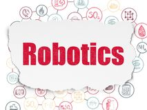 Science concept: Robotics on Torn Paper background. Science concept: Painted red text Robotics on Torn Paper background with Scheme Of Hand Drawn Science Icons Stock Images