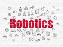 Science concept: Robotics on wall background. Science concept: Painted red text Robotics on White Brick wall background with  Hand Drawn Science Icons Royalty Free Stock Images