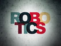 Science concept: Robotics on Digital Data Paper background. Science concept: Painted multicolor text Robotics on Digital Data Paper background Royalty Free Stock Photo