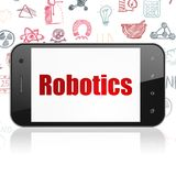 Science concept: Smartphone with Robotics on display. Science concept: Smartphone with  red text Robotics on display,  Hand Drawn Science Icons background, 3D Royalty Free Stock Images