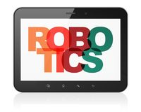 Science concept: Tablet Computer with Robotics on  display. Science concept: Tablet Computer with Painted multicolor text Robotics on display, 3D rendering Royalty Free Stock Photography