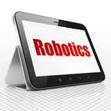 Science concept: Tablet Computer with Robotics on display. Science concept: Tablet Computer with red text Robotics on display, 3D rendering Stock Photo