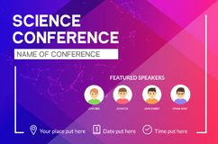 Science conference business design template. Science brochure flyer marketing advertising meeting.  vector illustration