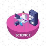 Science 3d isometric research lab with laboratory equipment stock illustration