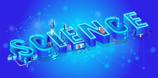 Science 3d Neon Isometric Word and little people stock illustration