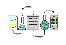 Science data research line style illustration Royalty Free Stock Images
