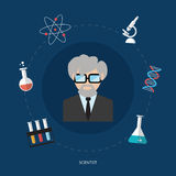 Science design concept flat icons isolated vector Stock Photography