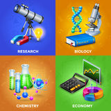 Science 2x2 Design Concept Set royalty free illustration