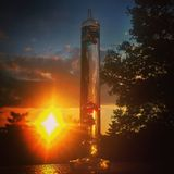 Science Diamond Sunset. Looking through the barometer to see temperature we are blinded with beauty Stock Image
