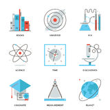 Science and discovery line icons set. Thin line icons of discovery new things, planet and universe research, science and scientific experiment, books knowledge Royalty Free Stock Photos