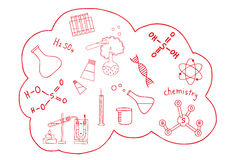 Science doodles set. On white background Royalty Free Stock Photo