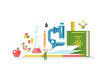Science and education. Book study knowledge, research and learning, vector illustration Stock Images