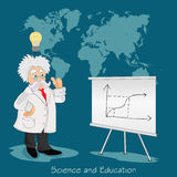 Science and education concept, distance, online, learning professor, international students. Science and education concept in flat design Royalty Free Stock Photo