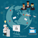Science and education concept, distance, online, learning professor, international students, vector illustration  Stock Photos