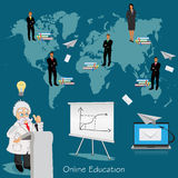 Science and education concept, distance, online, learning professor, international students, vector illustration  Stock Photography
