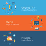 Science education concept flat icons banners template set Royalty Free Stock Photos