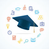 Science Education  Concept and Icons Set. Vector Royalty Free Stock Photo