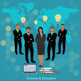 Science and education concept, vector illustration in flat design for web sites Royalty Free Stock Image