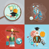 Science and education distance education professor teacher. Students scientific experiments lecture training vector illustration Royalty Free Stock Photo