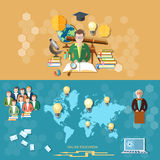 Science and education, distance learning,  banners Royalty Free Stock Photo