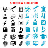 Science and education flat icons set Stock Photos