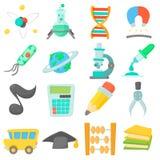 Science education icons set, cartoon style Stock Photo