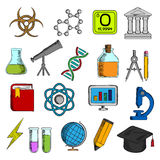 Science and education icons set Stock Photos