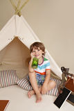 Science Education through Indoor Play in Teepee Tent Stock Photo