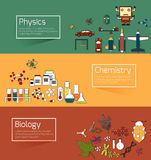 Science education infographic banner template layout such as phy Royalty Free Stock Image