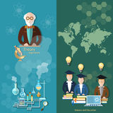 Science and education professor teachers international students banners Royalty Free Stock Photos