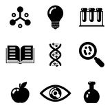 Science education research study web icons set Royalty Free Stock Photo