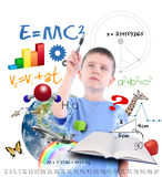 Science Education School Boy Writing. A young boy is writing on a white background with different science, math and physics icons around him. Use it for a school Stock Images