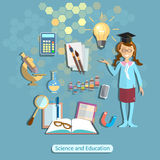 Science and education, schoolgirl, student, chemistry physics Royalty Free Stock Image