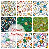 Science, research and education seamless patterns Royalty Free Stock Photos