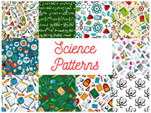Science and education seamless patterns set Stock Image