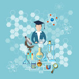 Science and education teacher research chemistry experiment Royalty Free Stock Image