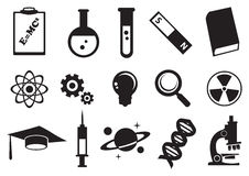 Science Education Vector Icon Set. Vector illustration of tools and symbols for science education. Black and white icon set stock illustration